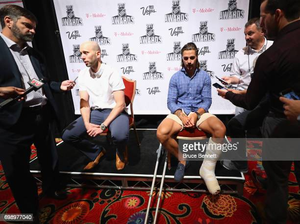 Craig Anderson and Erik Karlsson of the Ottawa Senators are interviewed during media availability for the 2017 NHL Awards at the Encore Las Vegas on...