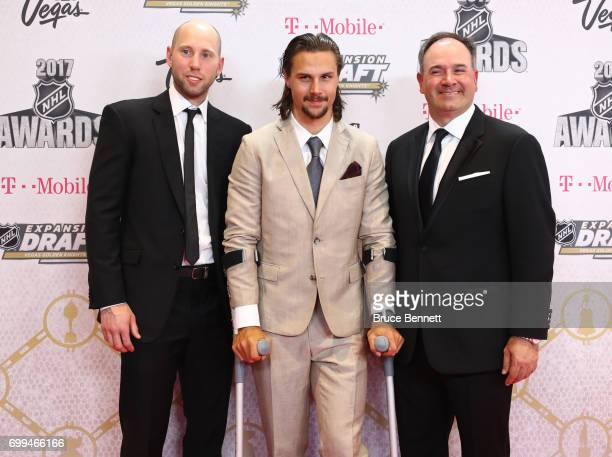 Craig Anderson Erik Karlsson and Pierre Dorion of the Ottawa Senators attend the 2017 NHL Awards at TMobile Arena on June 21 2017 in Las Vegas Nevada