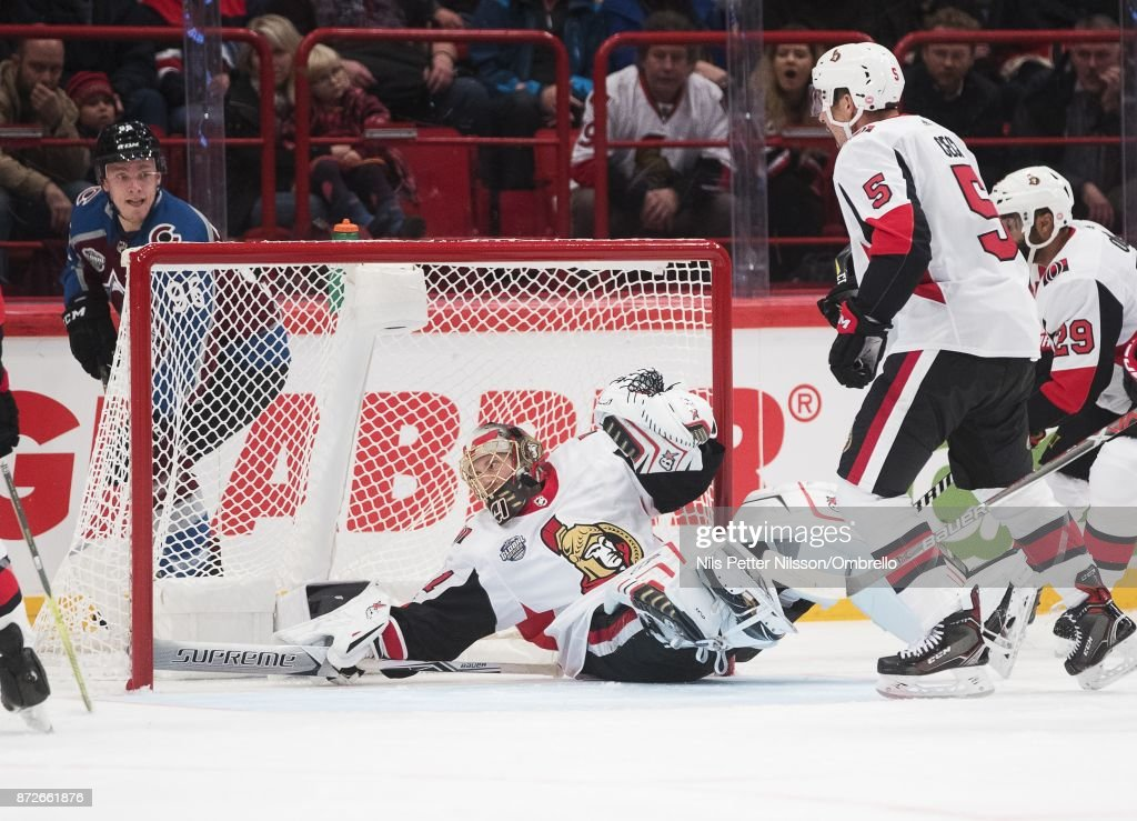 Craig Anderson #41, goaltender of Ottawa Senators makes a save during the 2017 SAP NHL Global Series match between Ottawa Senators and Colorado Avalanche at Ericsson Globe on November 10, 2017 in Stockholm, .