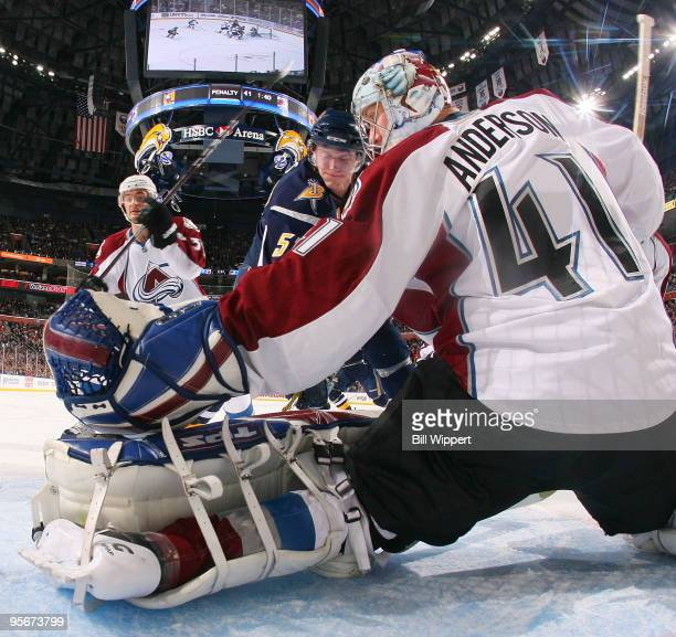 Craig Anderson of the Colorado Avalanche makes a first period pad save on Tyler Myers of the Buffalo Sabres on January 9 2010 at HSBC Arena in...