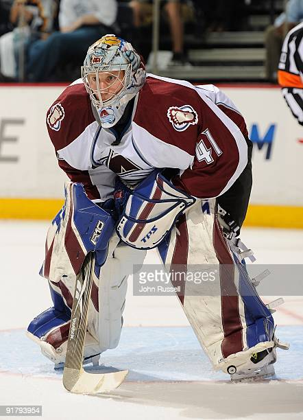 Craig Anderson of the Colorado Avalanche minds the net against the Nashville Predators on October 8 2009 at the Sommet Center in Nashville Tennessee
