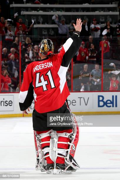 Craig Anderson of the Ottawa Senators celebrates after defeating the Pittsburgh Penguins with a score of 2 to 1 in Game Six of the Eastern Conference...