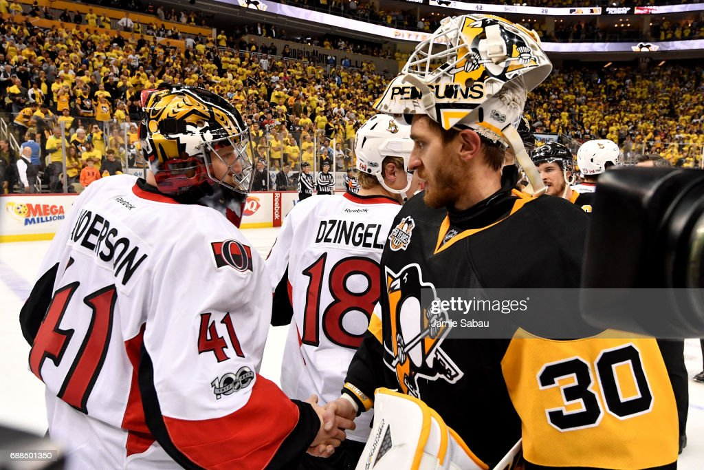 Craig Anderson #41 of the Ottawa Senators congratulates Matt Murray #30 of the Pittsburgh Penguins after Game Seven to win the Eastern Conference Final during the 2017 NHL Stanley Cup Playoffs at PPG PAINTS Arena on May 25, 2017 in Pittsburgh, Pennsylvania. The Pittsburgh Penguins defeated the Ottawa Senators with a score of 3 to 2.