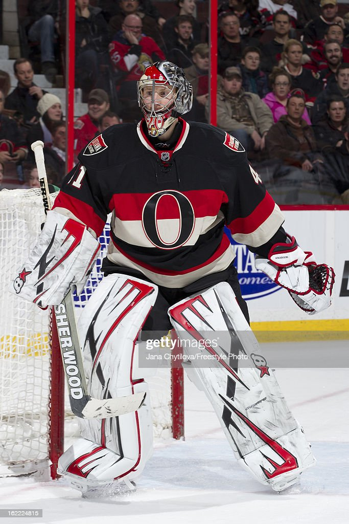 Craig Anderson #41 of the Ottawa Senators follows the play during an NHL game against the New York Islanders at Scotiabank Place on February 19, 2013 in Ottawa, Ontario, Canada.
