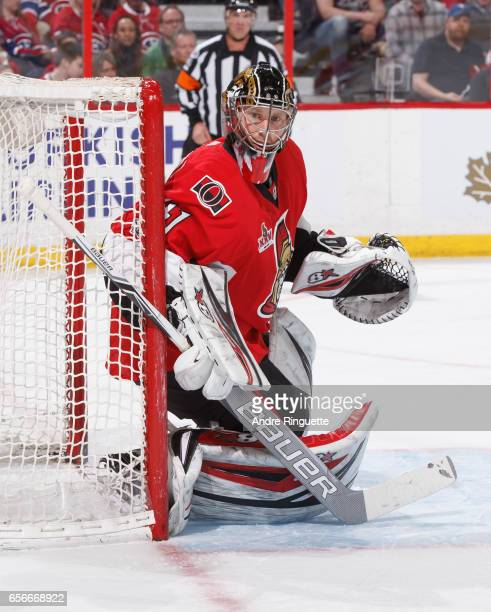 Craig Anderson of the Ottawa Senators guards his net against the Montreal Canadiens at Canadian Tire Centre on March 18 2017 in Ottawa Ontario Canada
