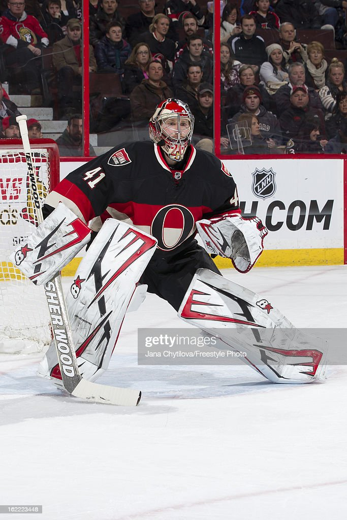 Craig Anderson #41 of the Ottawa Senators guards his net during an NHL game against the New York Islanders at Scotiabank Place on February 19, 2013 in Ottawa, Ontario, Canada.