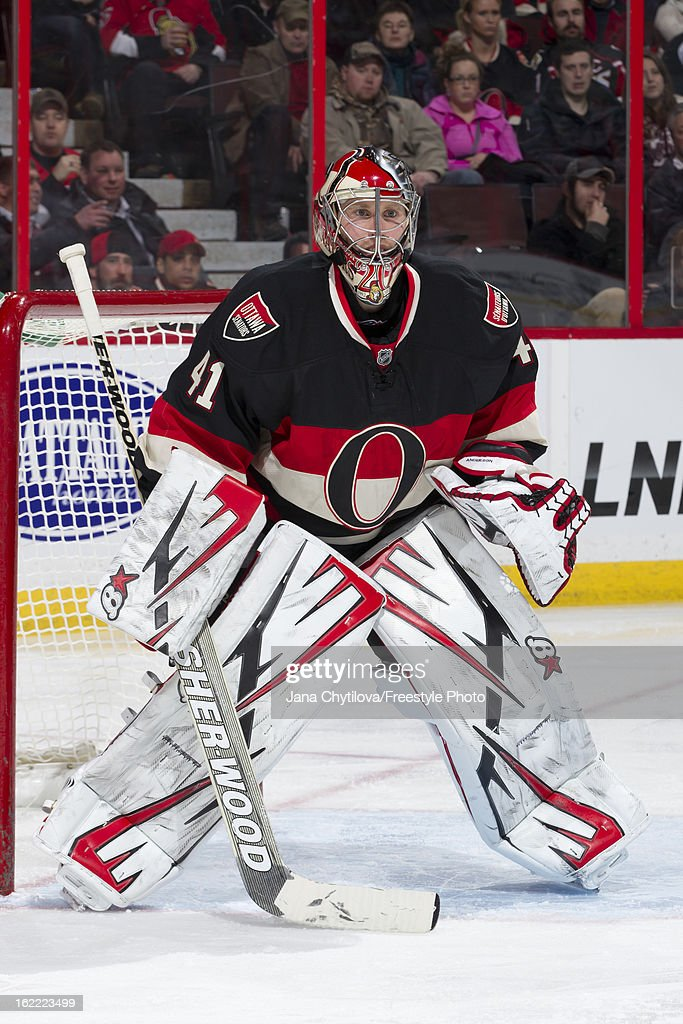 Craig Anderson of the Ottawa Senators guards his net during an NHL game against the New York Islanders at Scotiabank Place on February 19, 2013 in Ottawa, Ontario, Canada.
