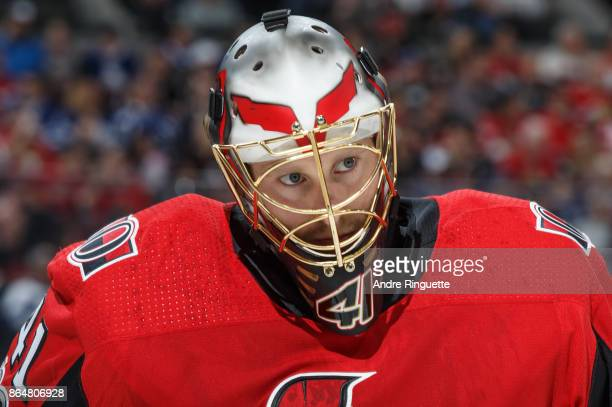 Craig Anderson of the Ottawa Senators looks on during a stoppage in play against the Toronto Maple Leafs at Canadian Tire Centre on October 21 2017...