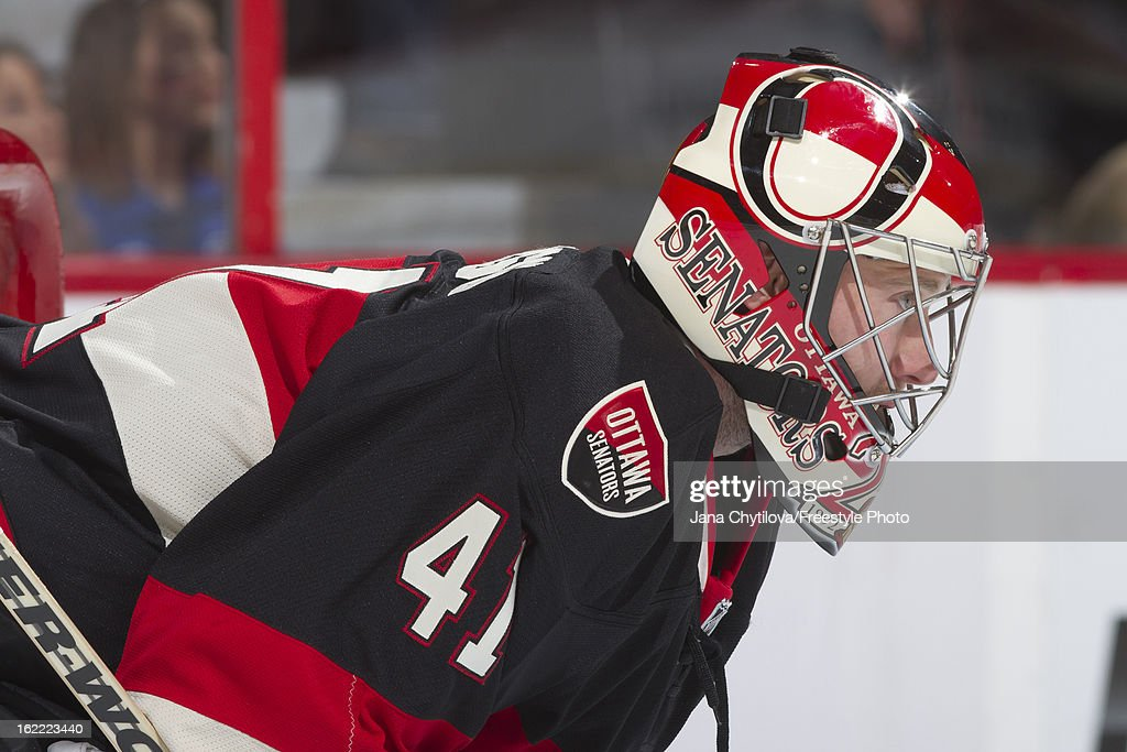Craig Anderson #41 of the Ottawa Senators looks on during an NHL game against the New York Islanders at Scotiabank Place on February 19, 2013 in Ottawa, Ontario, Canada.