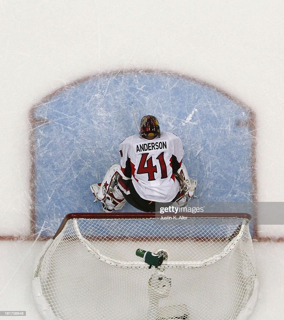 Craig Anderson #41 of the Ottawa Senators looks on during the game against the Pittsburgh Penguins at Consol Energy Center on February 13, 2013 in Pittsburgh, Pennsylvania.