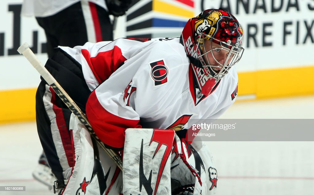 Craig Anderson #41 of the Ottawa Senators looks on during warmup before NHL action at the Air Canada Centre against the Toronto Maple Leafs February 16, 2013 in Toronto, Ontario, Canada.
