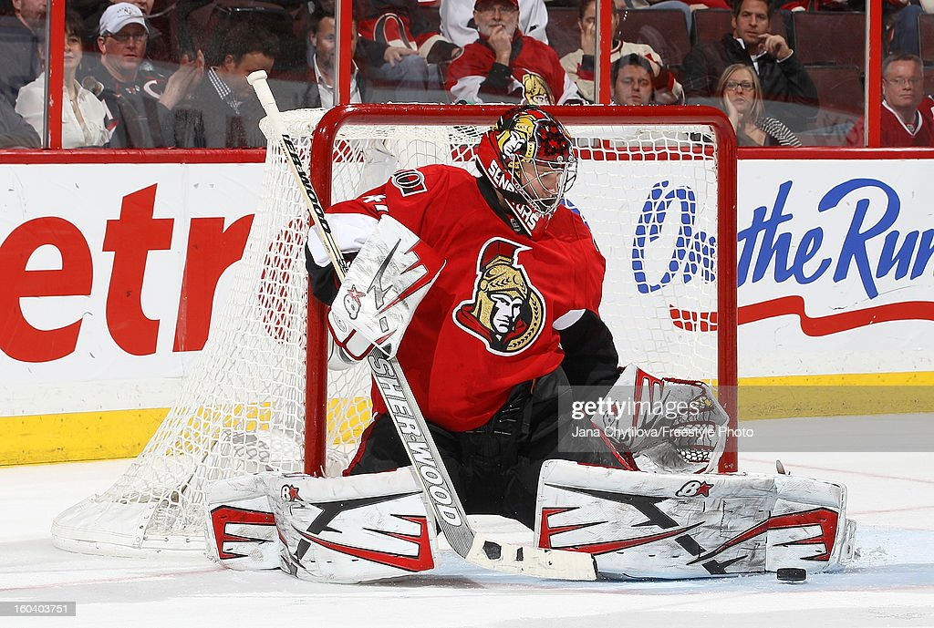 Craig Anderson #41 of the Ottawa Senators makes a pad save during an NHL game against the Montreal Canadiens at Scotiabank Place on January 30, 2013 in Ottawa, Ontario, Canada.