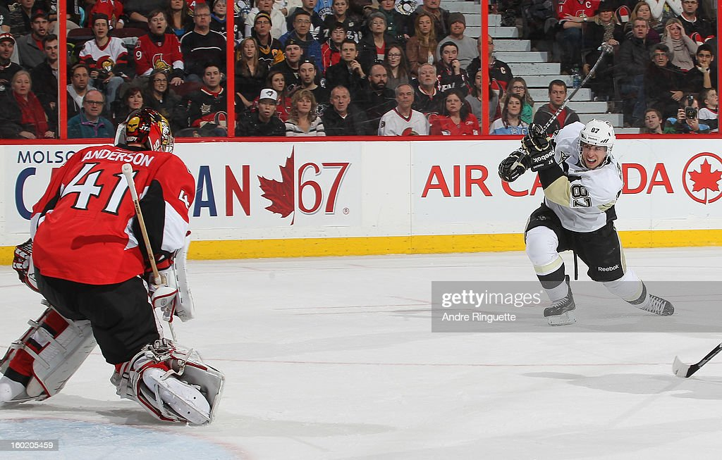 Craig Anderson #41 of the Ottawa Senators makes a save against Sidney Crosby #87 of the Pittsburgh Penguins on January 27, 2013 at Scotiabank Place in Ottawa, Ontario, Canada.