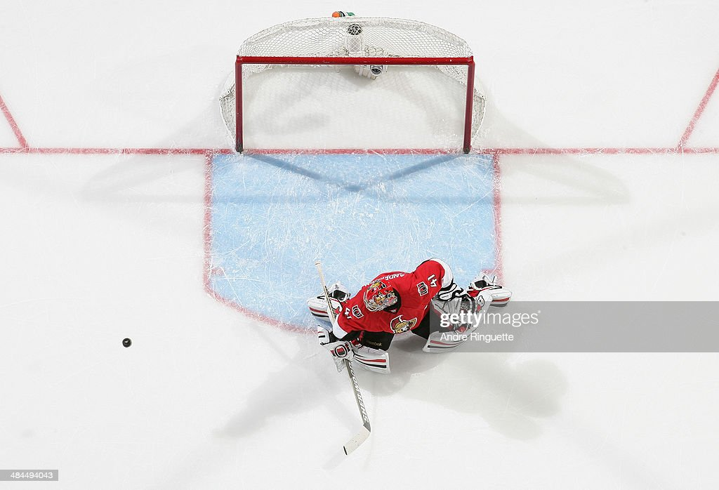 Craig Anderson #41 of the Ottawa Senators makes a save against the Toronto Maple Leafs at Canadian Tire Centre on April 12, 2014 in Ottawa, Ontario, Canada.