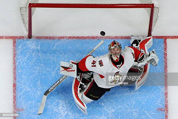 Craig Anderson of the Ottawa Senators makes a save during the game against the Los Angeles Kings on January 16 2016 at Staples Center in Los Angeles...