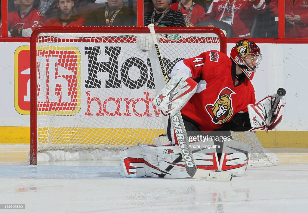 <a gi-track='captionPersonalityLinkClicked' href=/galleries/search?phrase=Craig+Anderson&family=editorial&specificpeople=211238 ng-click='$event.stopPropagation()'>Craig Anderson</a> #41 of the Ottawa Senators makes one of his 42 saves against the Buffalo Sabres for a 2-0 shutout win on February 12, 2013 at Scotiabank Place in Ottawa, Ontario, Canada.