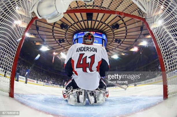 Craig Anderson of the Ottawa Senators pauses prior to the game against the New York Rangers in Game Three of the Eastern Conference Second Round...