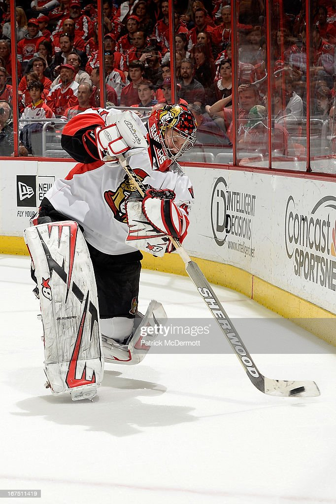 <a gi-track='captionPersonalityLinkClicked' href=/galleries/search?phrase=Craig+Anderson&family=editorial&specificpeople=211238 ng-click='$event.stopPropagation()'>Craig Anderson</a> #41 of the Ottawa Senators plays the puck during an NHL game against the Washington Capitals at Verizon Center on April 25, 2013 in Washington, DC.