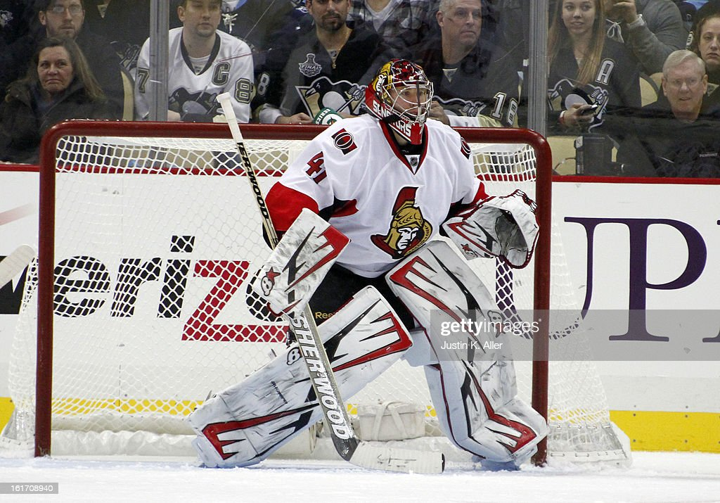 Craig Anderson #41 of the Ottawa Senators protects the goal against the Pittsburgh Penguins at Consol Energy Center on February 13, 2013 in Pittsburgh, Pennsylvania.