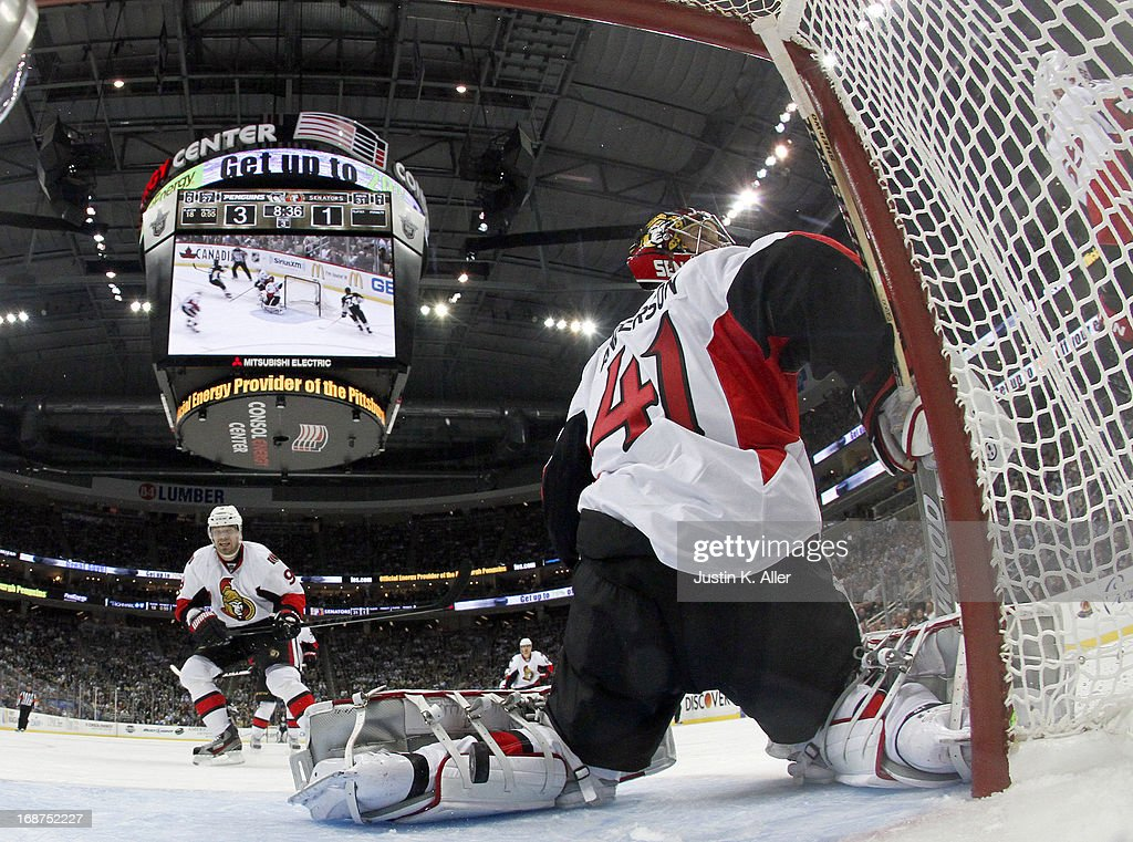 Craig Anderson #41 of the Ottawa Senators reacts after being scored on by Pascal Dupuis #9 of the Pittsburgh Penguins (not pictured) in Game One of the Eastern Conference Semifinals during the 2013 NHL Stanley Cup Playoffs at Consol Energy Center on May 14, 2013 in Pittsburgh, Pennsylvania. The Penguins defeated the Senators 4-1.