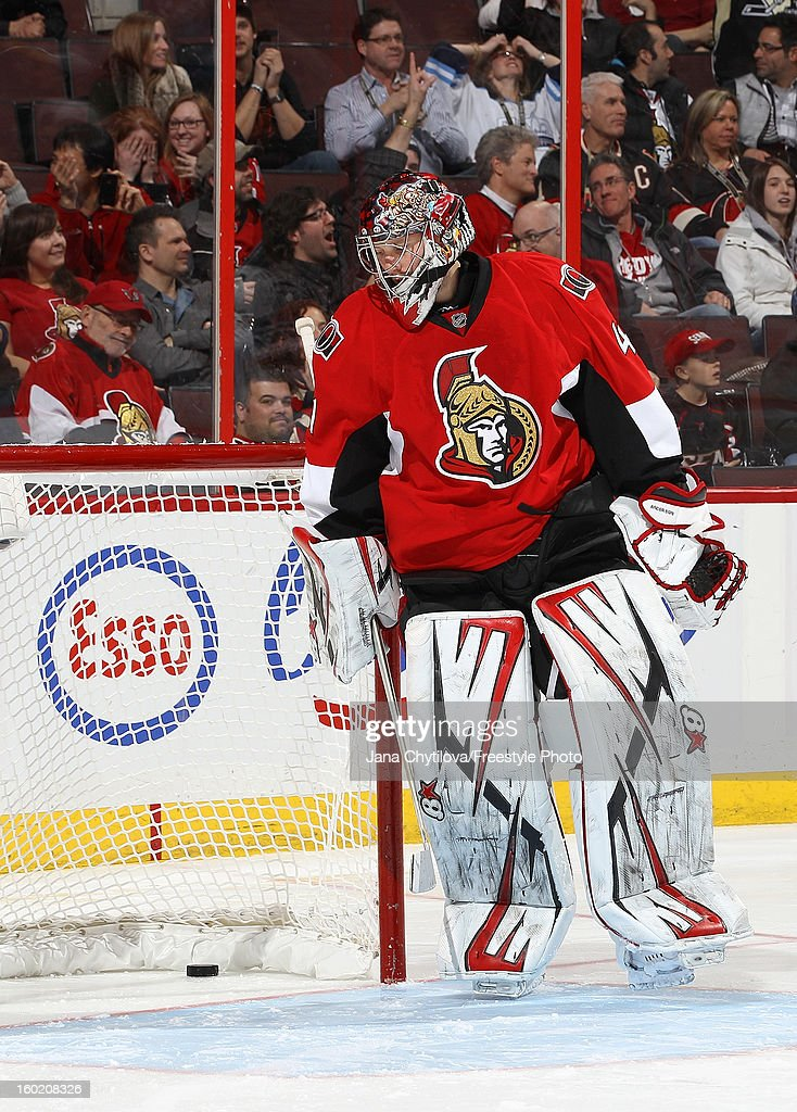 Craig Anderson #41 of the Ottawa Senators reacts after being scored on in a shoot-out against the Pittsburgh Penguins during an NHL game at Scotiabank Place on January 27, 2013 in Ottawa, Ontario, Canada.