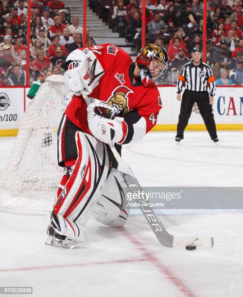 Craig Anderson of the Ottawa Senators shoots the puck against the Boston Bruins in Game Two of the Eastern Conference First Round during the 2017 NHL...