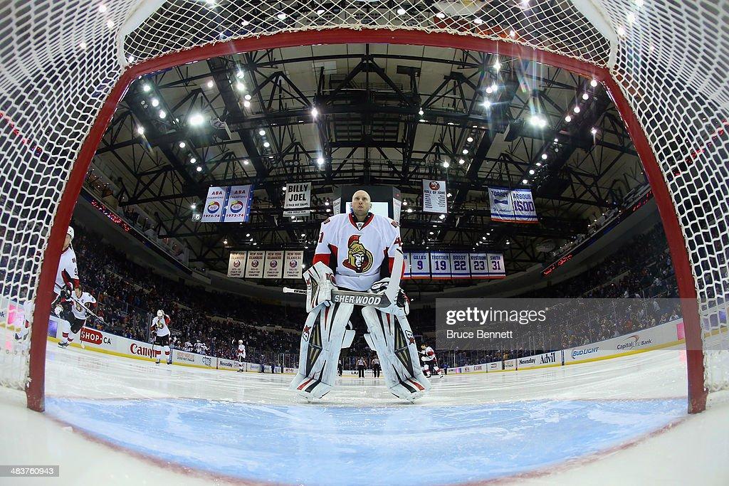 Craig Anderson #41 of the Ottawa Senators skates against the New York Islanders at the Nassau Veterans Memorial Coliseum on April 8, 2014 in Uniondale, New York.