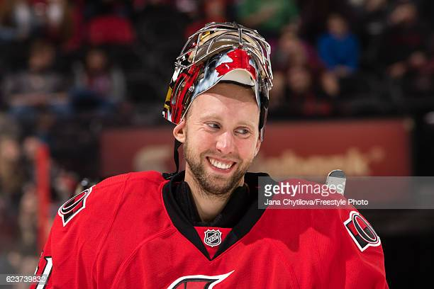 Craig Anderson of the Ottawa Senators smile during a break in the game against the Minnesota Wild at Canadian Tire Centre on November 13 2016 in...