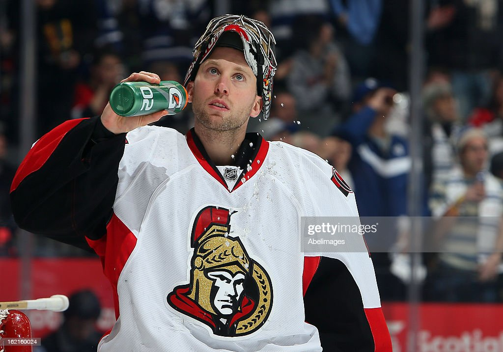 Craig Anderson #41 of the Ottawa Senators takes a drink during NHL action at the Air Canada Centre against the Toronto Maple Leafs February 16, 2013 in Toronto, Ontario, Canada.