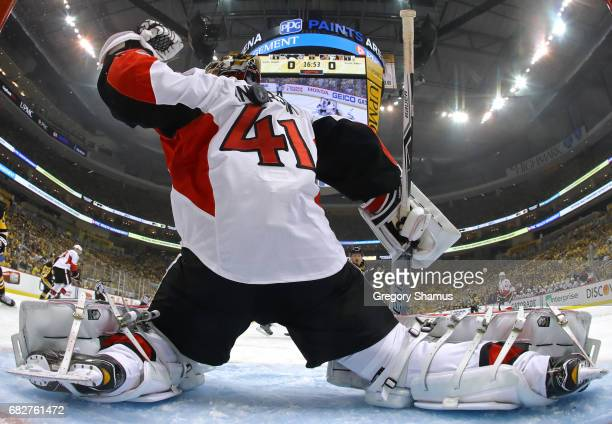 Craig Anderson of the Ottawa Senators tends goal against the Pittsburgh Penguins during the first period in Game One of the Eastern Conference Final...