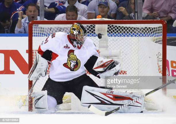 Craig Anderson of the Ottawa Senators tends net against the New York Rangers in Game Three of the Eastern Conference Second Round during the 2017 NHL...