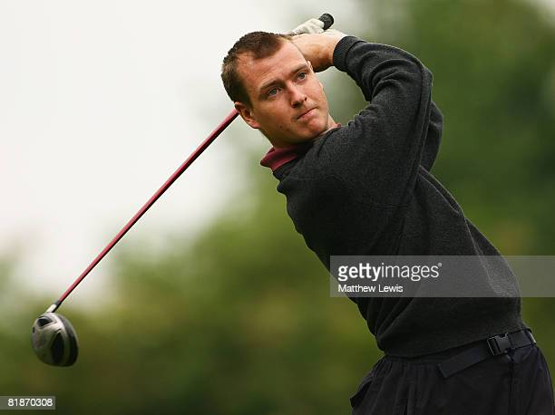 Craig Bates tees off from the 1st tee during the Powerade PGA Assistant's Championship North Region Qualifier at Knaresborough Golf Club on July 7...