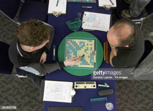 Craig Beevers 27 and Allan Simmons compete in the final of the 37th National Scrabble Championships at the Cavendish Conference Centre London