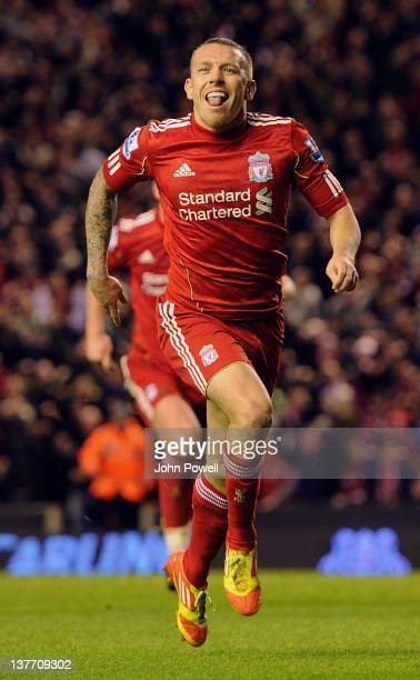 Craig Bellamy celebrates after scoring Liverpool's second goal during the Carling Cup semi final second leg between Liverpool and Manchester City at...