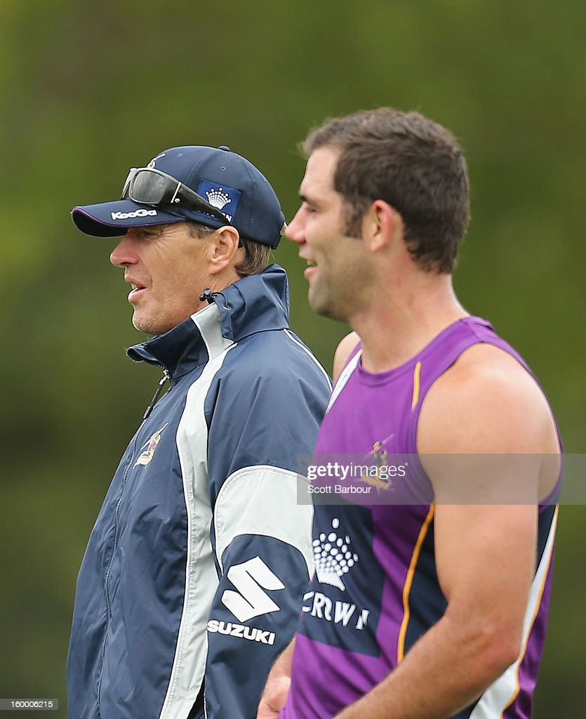 Craig Bellamy, coach of the Storm and <a gi-track='captionPersonalityLinkClicked' href=/galleries/search?phrase=Cameron+Smith+-+Rugby+League+Player&family=editorial&specificpeople=453295 ng-click='$event.stopPropagation()'>Cameron Smith</a> of the Storm look on during a Melbourne Storm NRL training session at Gosch's Paddock on January 25, 2013 in Melbourne, Australia.