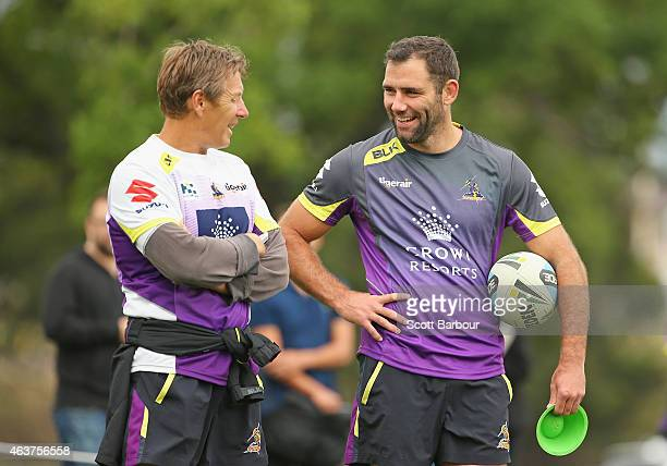 Craig Bellamy coach of the Storm and Cameron Smith of the Storm look on during a joint NRL training session with the Melbourne Storm and Canterbury...