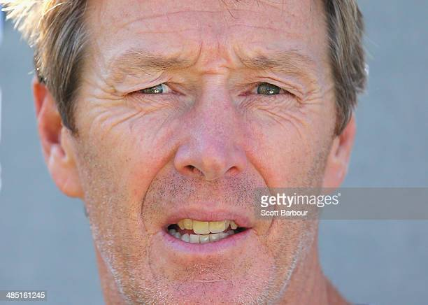 Craig Bellamy coach of the Storm speaks to the media during a Melbourne Storm NRL training session at Gosch's Paddock on April 17 2014 in Melbourne...