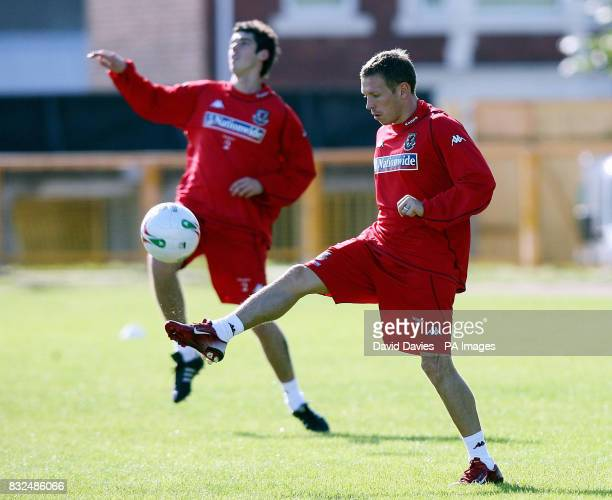 Craig Bellamy during a training session at Jenner Park Barry