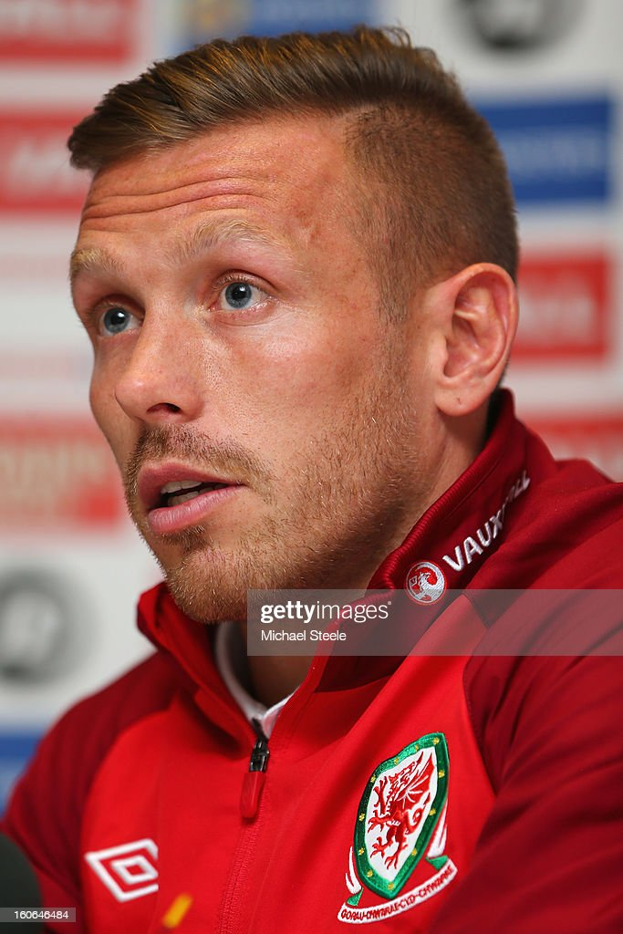 <a gi-track='captionPersonalityLinkClicked' href=/galleries/search?phrase=Craig+Bellamy+-+Soccer+Player&family=editorial&specificpeople=203318 ng-click='$event.stopPropagation()'>Craig Bellamy</a> during the Wales press conference at St David's Hotel on February 4, 2013 in Cardiff, Wales.