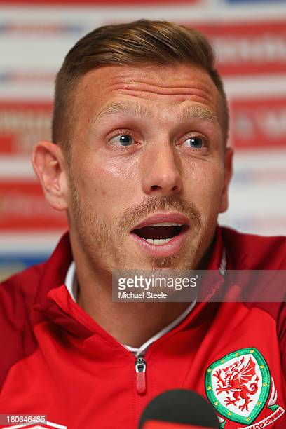 Craig Bellamy during the Wales press conference at St David's Hotel on February 4 2013 in Cardiff Wales