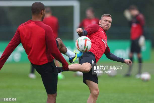 Craig Bellamy during the Wales training session at the Vale of Glamorgan complex on October 8 2013 in Cardiff Wales