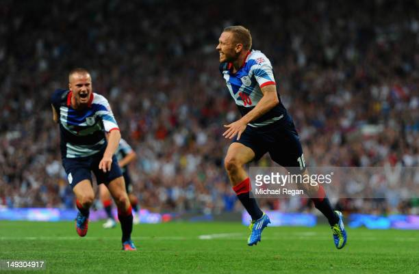 Craig Bellamy of Great Britain celebrates scoring to make it 10 during the Men's Football first round Group A Match of the London 2012 Olympic Games...