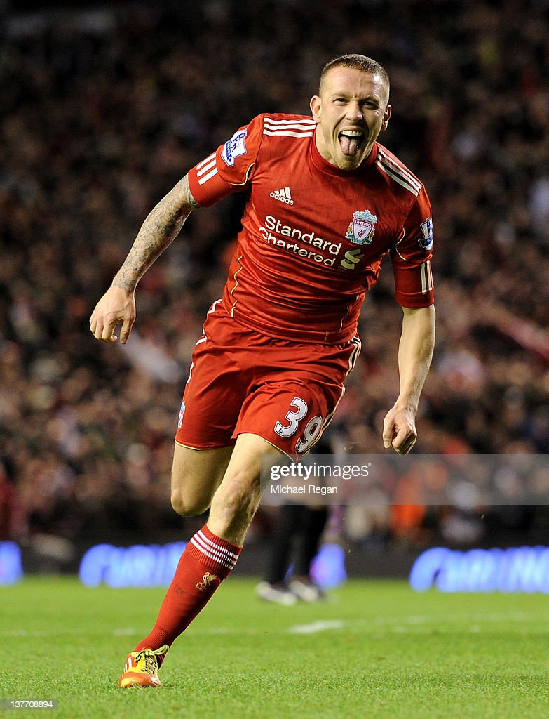 <a gi-track='captionPersonalityLinkClicked' href=/galleries/search?phrase=Craig+Bellamy+-+Soccer+Player&family=editorial&specificpeople=203318 ng-click='$event.stopPropagation()'>Craig Bellamy</a> of Liverpool celebrates scoring his team's second goal during the Carling Cup Semi Final Second Leg match between Liverpool and Manchester City at Anfield on January 25, 2012 in Liverpool, England.