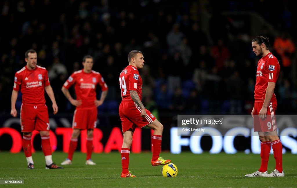 <a gi-track='captionPersonalityLinkClicked' href=/galleries/search?phrase=Craig+Bellamy+-+Soccer+Player&family=editorial&specificpeople=203318 ng-click='$event.stopPropagation()'>Craig Bellamy</a> of Liverpool prepares to kick off after Bolton scored a goal during the Barclays Premier League match between Bolton Wanderers and Liverpool at the Reebok Stadium on January 21, 2012 in Bolton, England.