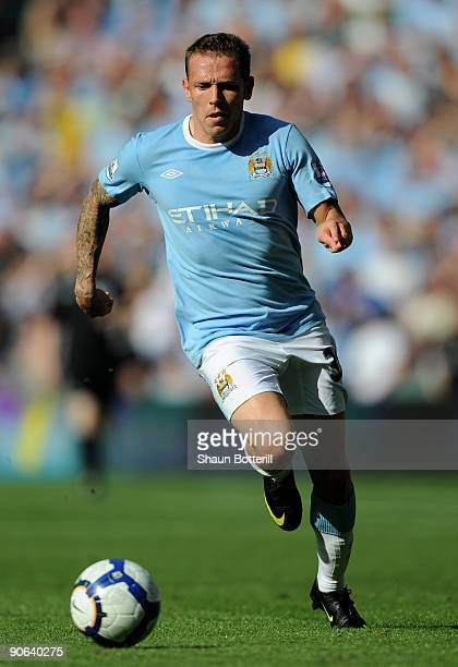 Craig Bellamy of Manchester City in action during the Barclays Premier League match between Manchester City and Arsenal at the City of Manchester...