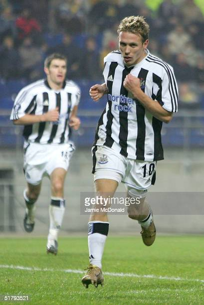 Craig Bellamy of Newcastle celebrates his goal during the UEFA Cup Group D match between FC Sochaux and Newcastle United at the Stade Auguste Bonal...