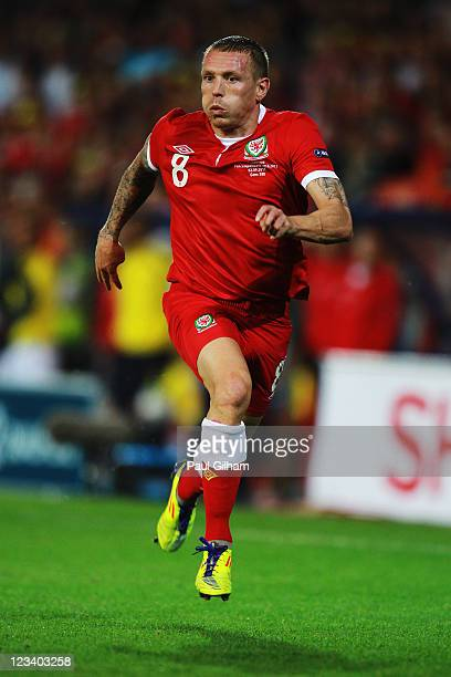 Craig Bellamy of Wales in action during the UEFA EURO 2012 group G qualifying match between Wales and Montenegro at the Cardiff City Stadium on...
