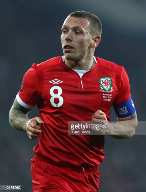 Craig Bellamy of Wales looks on during the Gary Speed Memorial International Match between Wales and Costa Rica at the Cardiff City Stadium on...
