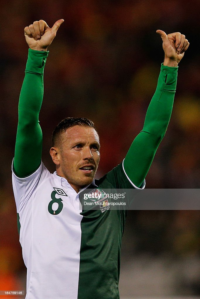 <a gi-track='captionPersonalityLinkClicked' href=/galleries/search?phrase=Craig+Bellamy+-+Soccer+Player&family=editorial&specificpeople=203318 ng-click='$event.stopPropagation()'>Craig Bellamy</a> of Wales thanks the fans after the FIFA 2014 World Cup Qualifying Group A match between Belgium and Wales at King Baudouin Stadium on October 15, 2013 in Brussels, Belgium.