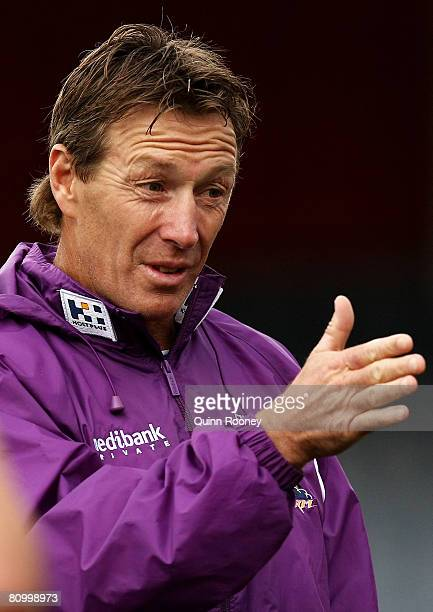 Craig Bellamy the coach of the Storm gives instructions during a Melbourne Storm NRL training session held at MC Labour Park on May 6 2008 in...